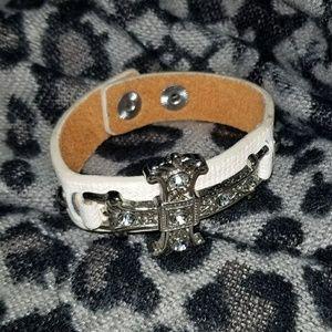 Buckle Rhinestone & Leather Bracelet